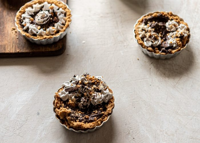 mini pies with a cup of coffee