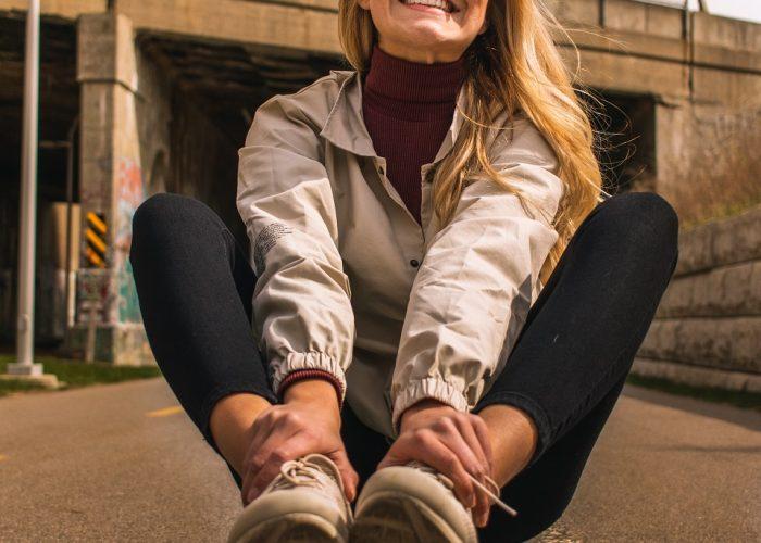 woman having fun riding skateboard
