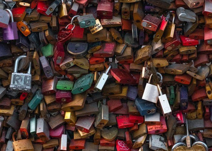 wall of padlocks