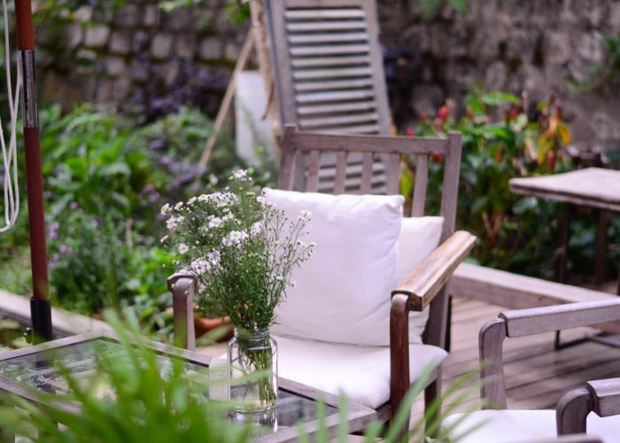 chair with pillow in outdoor setting